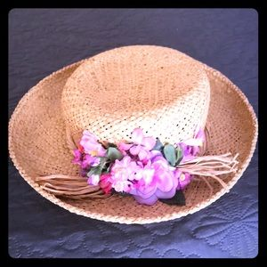 Cappelli of Miami Florida Straw Hat with flowers